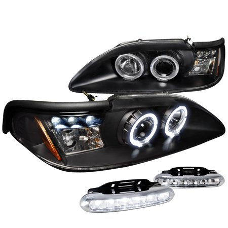 Spec D Tuning 1994 1998 Ford Mustang Halo Projector Headlight Signal Black Led Fog Lamps Left Right 1995 1996 1997
