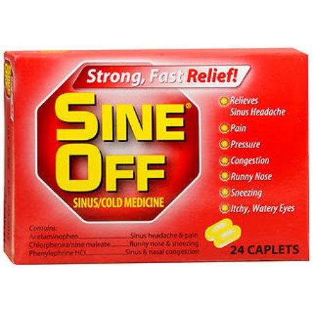 Sine-Off Sinus/Cold Medicine Caplets - 24 ct