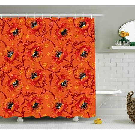 Orange Shower Curtain Set Elegant Chic Poppy Flower Series Blossom Romance Boho Chic Art Decor