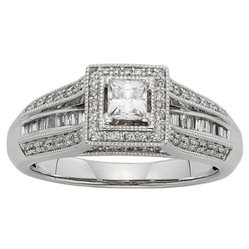 Sofia 10k White Gold 1/2ct TDW Princess-cut Diamond Engagement Ring (H-I, I1-I2) Size 5