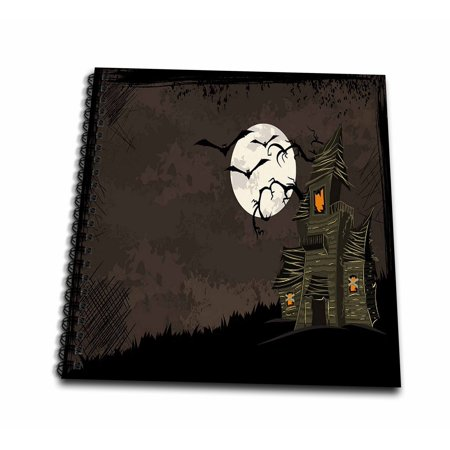 3dRose Halloween Haunted House With A Moon and Bats - Drawing Book, 8 by - Halloween Bat Drawing