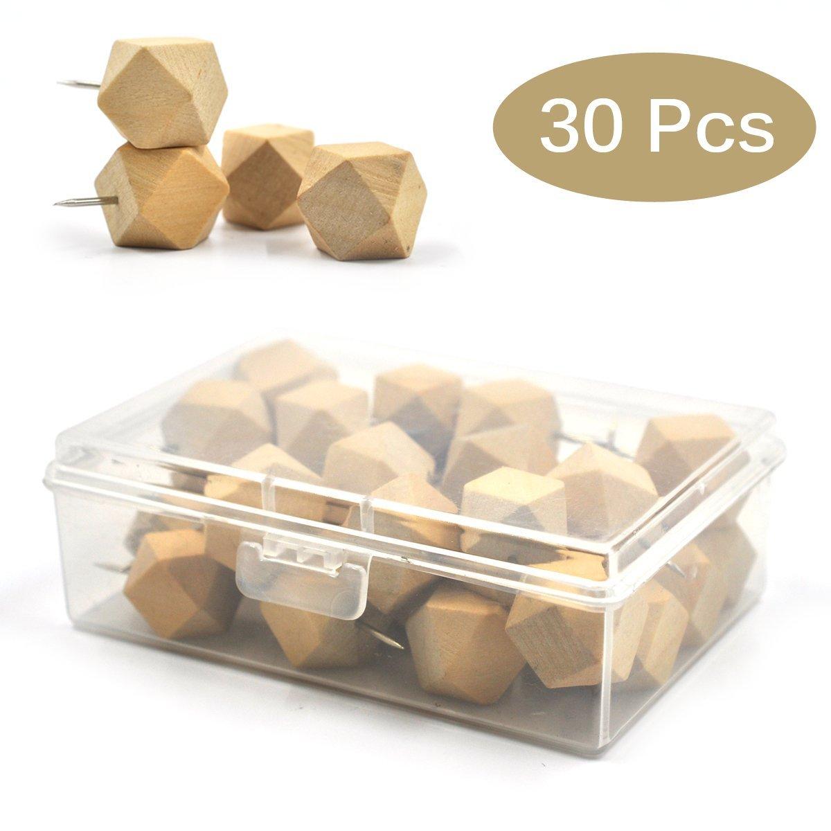 eZAKKA Geometric Wooden Push Pins Thumb Tacks Decorative for Cork Boards Map Photos Calendar with Box, 30-Pack