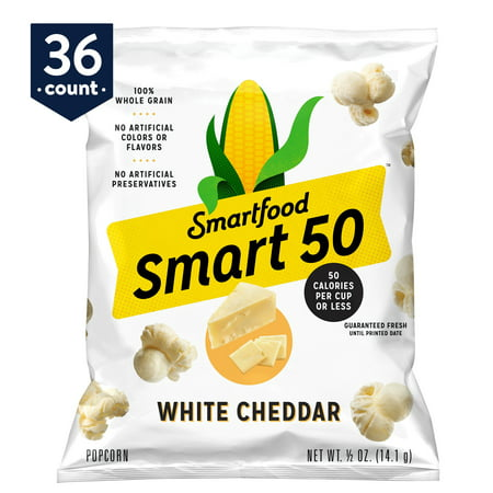 Halloween Popcorn White Chocolate (Smart50 Popcorn, White Cheddar, 0.5 oz Bags (Pack of 36) (Packaging May)