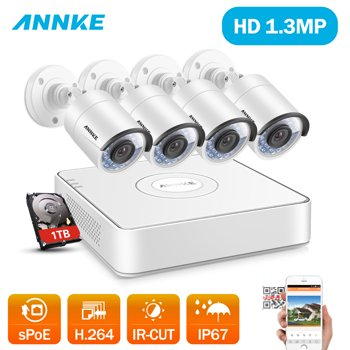 ANNKE 8Ch HD 1.3-MP Security System w/4x IP Cameras & 1TB HDD