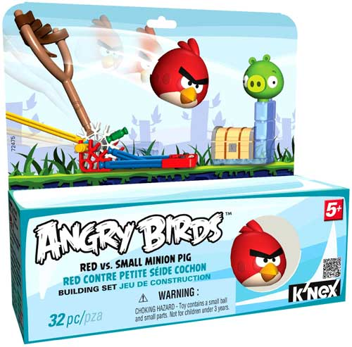 K'NEX Angry Birds Red Bird Vs. Small Minion Pig Set #72475 [Blue Box]