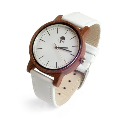 Women's Real Sandalwood Watch White Face, White Leather Band
