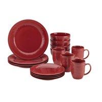 Rachael Ray 16-Piece Cucina Stoneware/Ceramic Dinnerware Set, Cranberry Red
