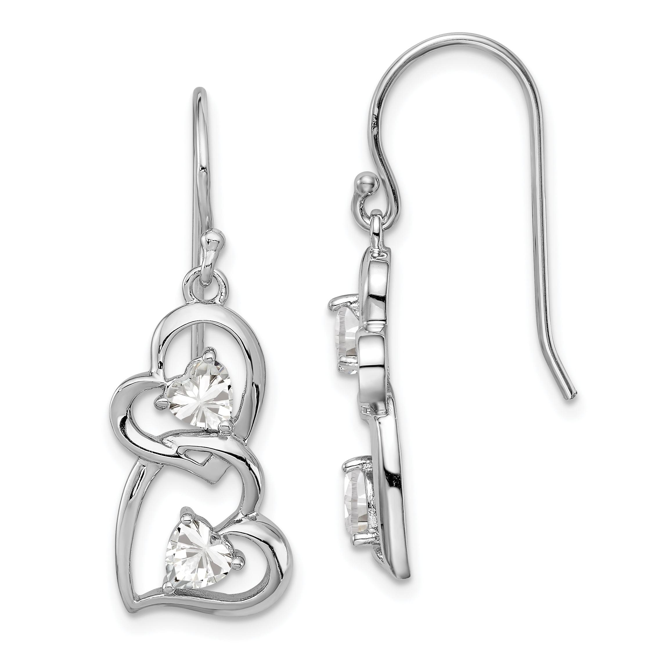 925 Sterling Silver Round Cubic Zirconia Cz Stud Heart Jacket Earrings Drop Dangle Love Fine Jewelry Gifts For Women For Her