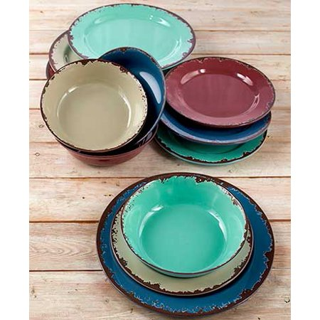 Rustic Melamine Dinnerware or Bowls Blueberry, Melon, Plum 12 Pc Dinnerware Set (12 PC Dinnerware Set) ()