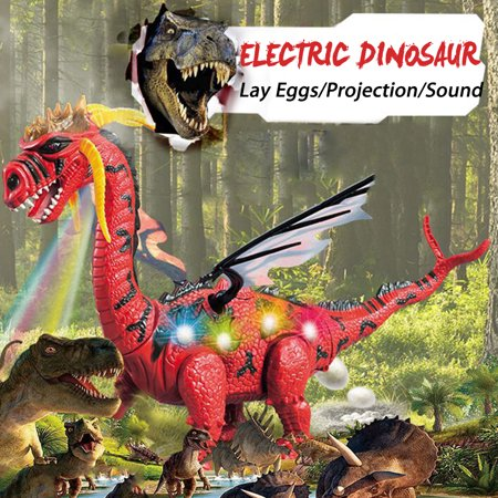 Grtsunsea Battery Operated Walking Dinosaur Toy Figure w/ Double Wings, Egg-Laying Action, Sounds Real Movement, Light-Up Stomach, & Projection Lights Kids Gift