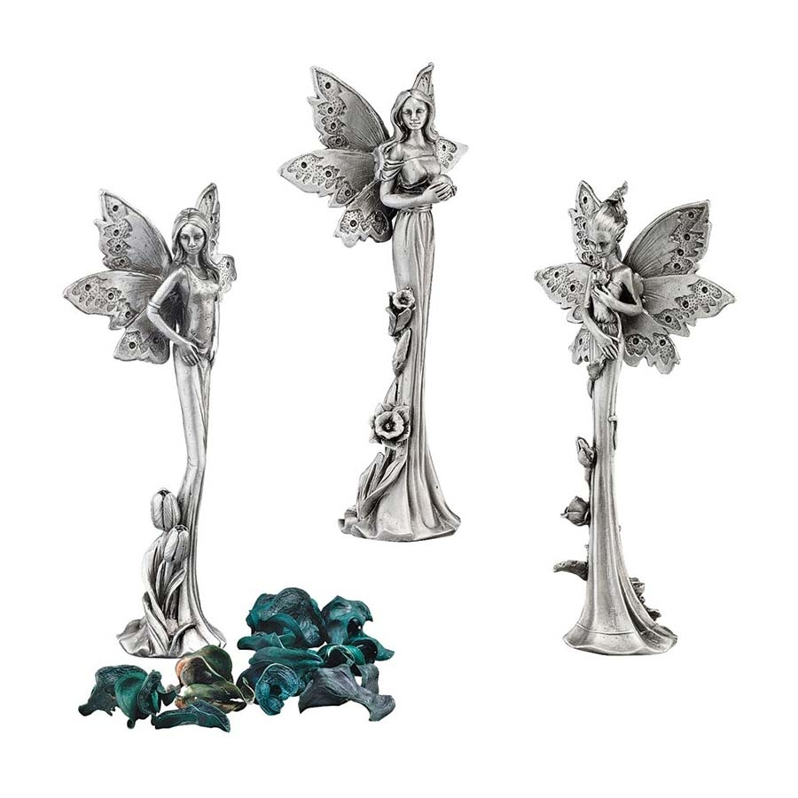 S/3 Pewter Flower Fairies Design Toscano Pewter Fairy Statues
