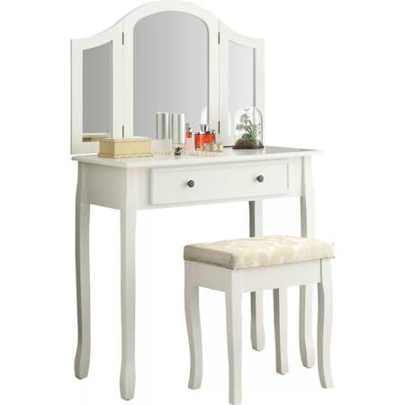 - Roundhill Furniture Sunny White Wooden Vanity, Make Up Table and Stool Set