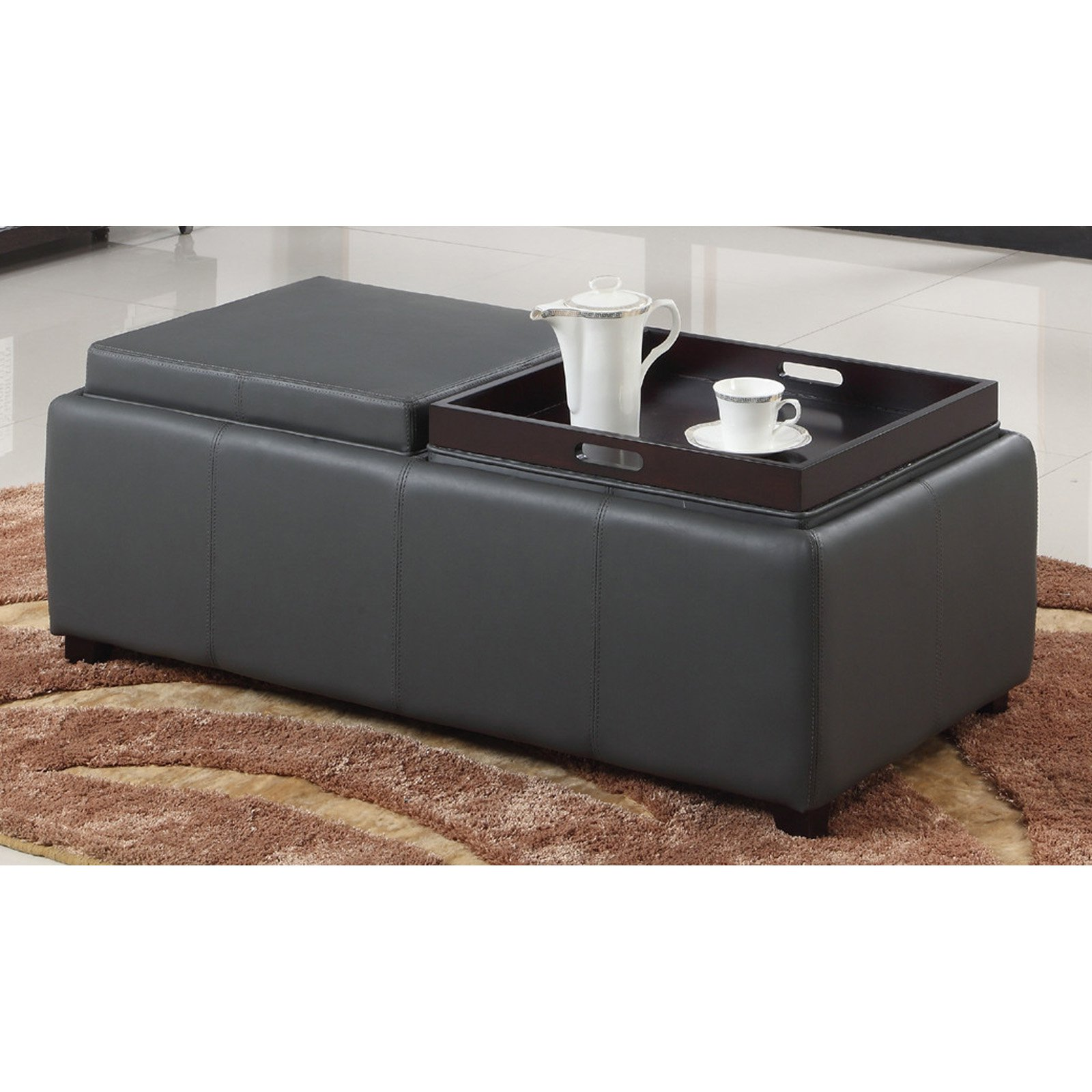 Marvelous Faux Leather Cocktail Ottoman With 2 Reversible Tray Lids Brown Gmtry Best Dining Table And Chair Ideas Images Gmtryco