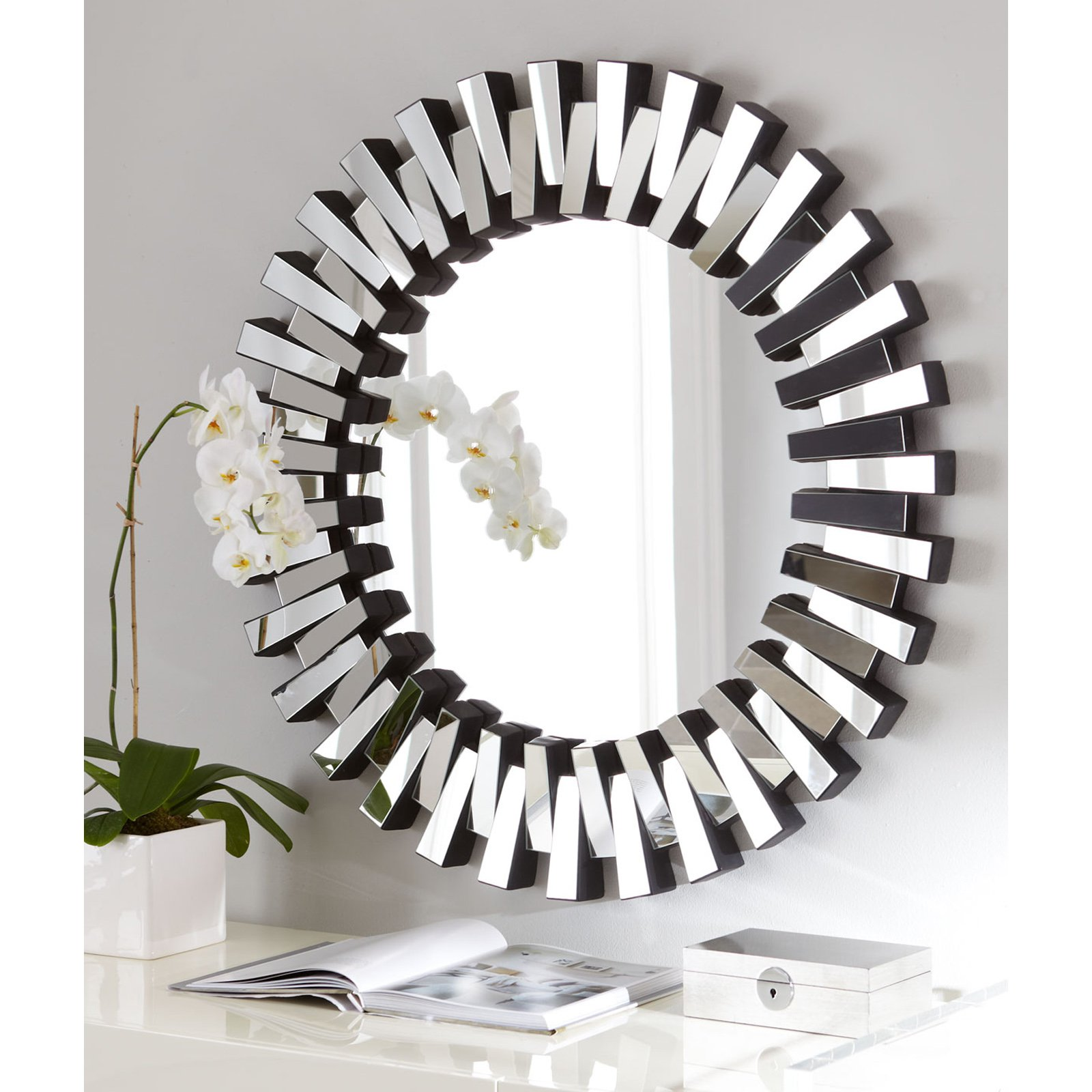 Afina Modern Luxe Round Wall Mirror - 36 in.