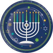 """Club Pack of 96 Hanukkah Icons Disposable Round Dinner Paper Plates 9"""""""