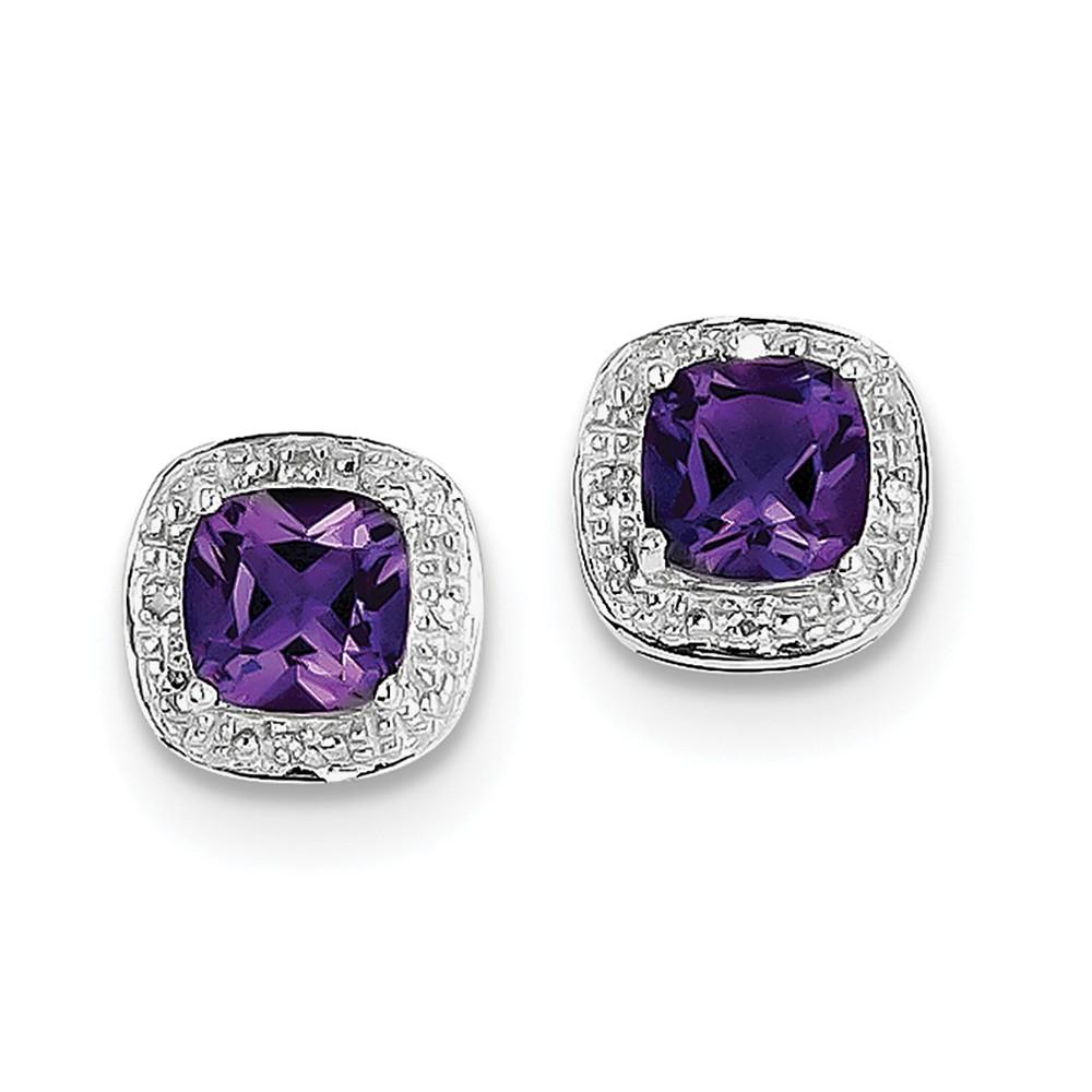 Sterling Silver Rhodium Amethyst & Diamond Post Earrings. Carat Wt- 1.73ct (9MM)