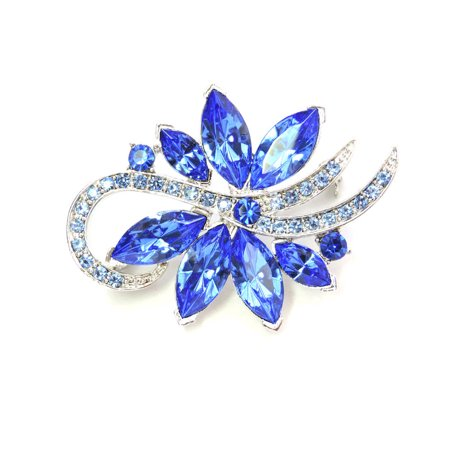 Blue Crystal Pin Brooch - Gorgeous Crystal Floral Pin Brooch Bridesmaid Wedding Party Prom - Blue