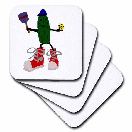3dRose Funny Pickleball Pickle in Red Sneakers - Soft Coasters, set of