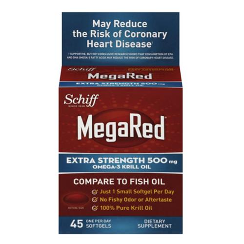 Schiff MegaRed Omega-3 Krill Oil, 500 mg, Extra Strength, Softgels 45 ea (Pack of 2)