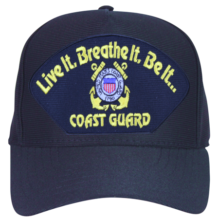 Guard Emblem - Live it, Breathe it, Be it ... Coast Guard with Emblem Ball Cap
