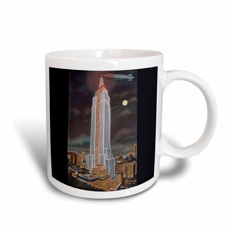 3dRose Empire State Building by Moonlight New York City, Ceramic Mug, 11-ounce