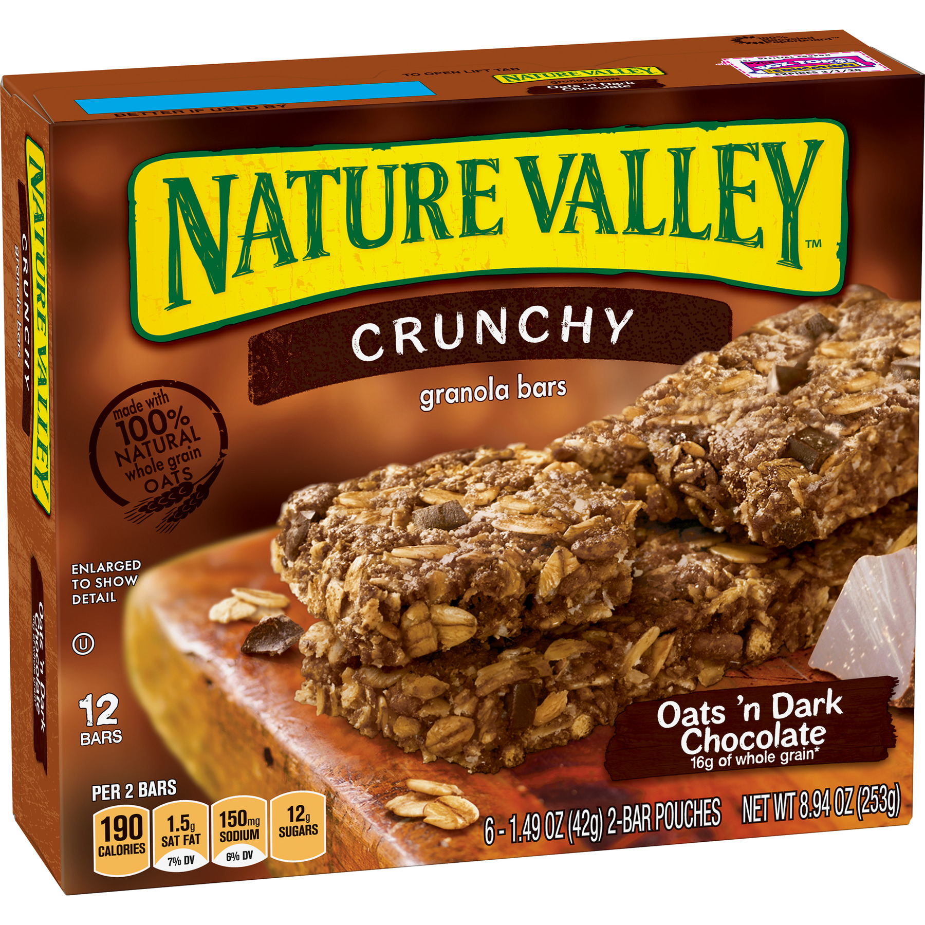 Nature Valley Granola Bars Crunchy Oats & Dark Choc (Total 12 Bars