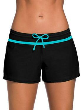 Fashion Women Swimsuit Shorts Tankini Swim Bottom Boardshort Beach Swimwear Trunks With Adjustable Waistband