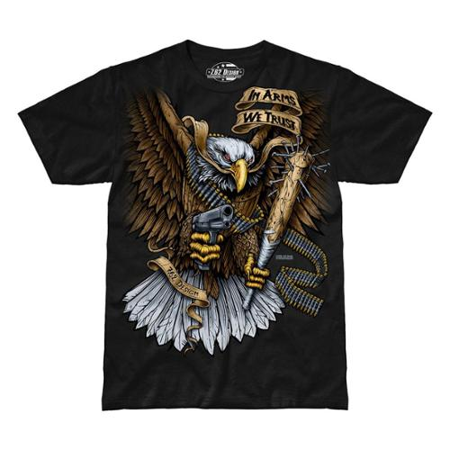 Image of 7.62 Design In Arms We Trust Attacking Eagle Jumbo Print T-Shirt, Black, 2XL