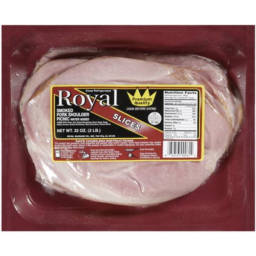 Royal Smoked Pork Shoulder Picnic Ham Slices, 32 oz