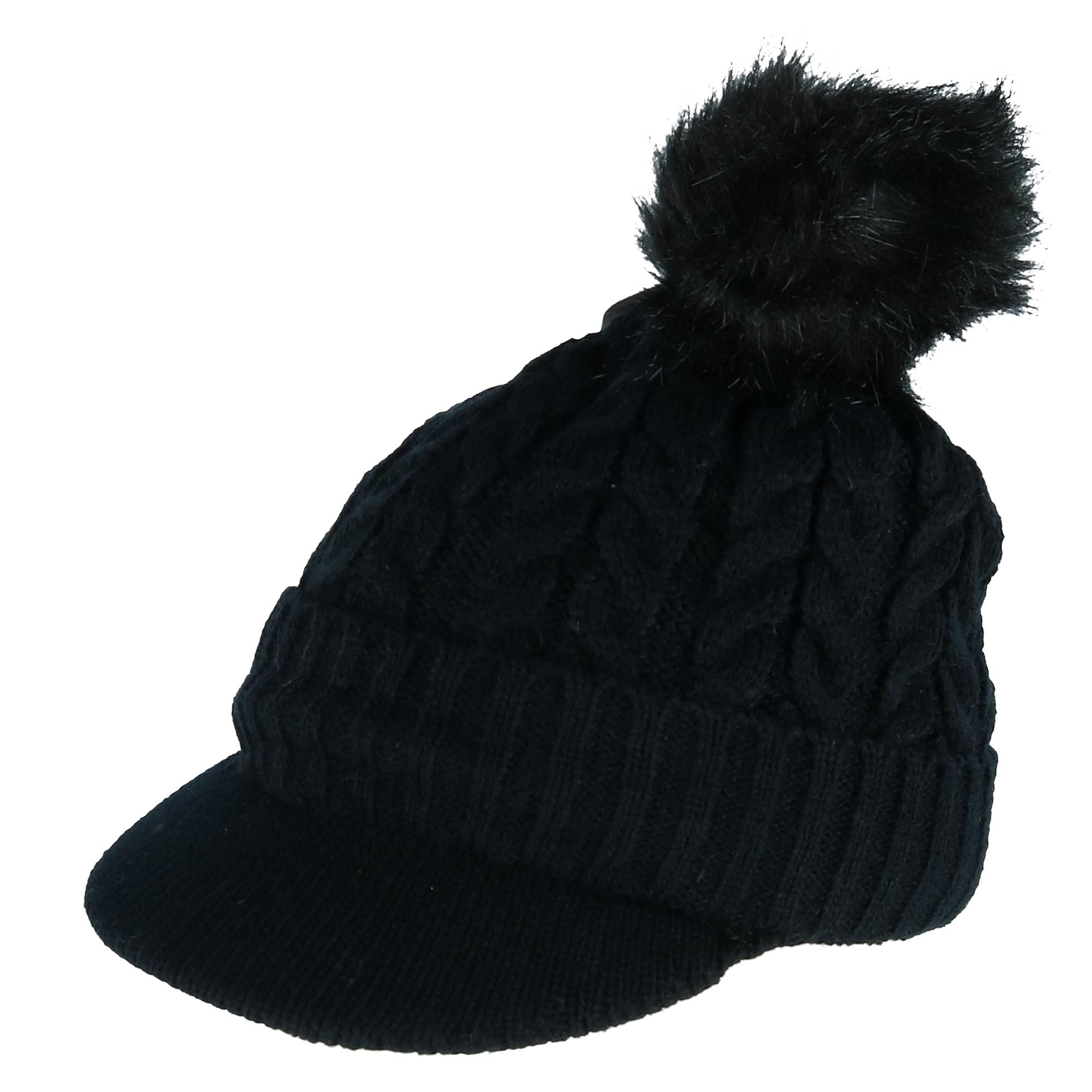 CTM Women's Cable Knit Visor with Sherpa Lining and Faux Fur Pom - image 1 de 1