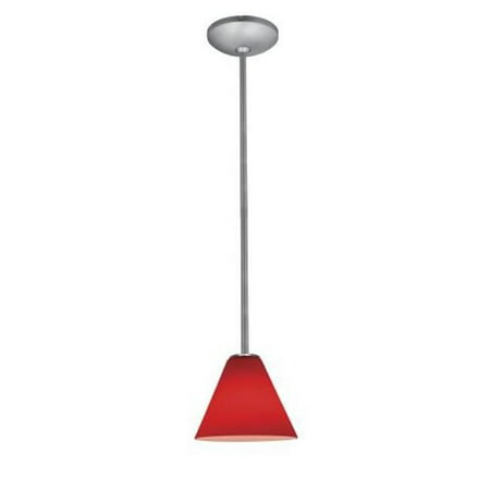 28004-1R-BS-RED Ami Inari Silk - One Light Pendant With Round Canopy, Brushed Steel Finish With Red