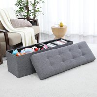 """Ornavo Home Foldable Tufted Linen Large Storage Ottoman Bench Foot Rest Stool/Seat - 15"""" x 45"""" x 15"""""""