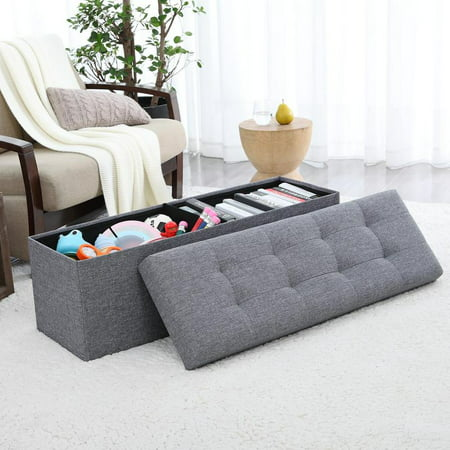Phenomenal Ornavo Home Foldable Tufted Linen Large Storage Ottoman Bench Foot Rest Stool Seat 15 X 45 X 15 Caraccident5 Cool Chair Designs And Ideas Caraccident5Info