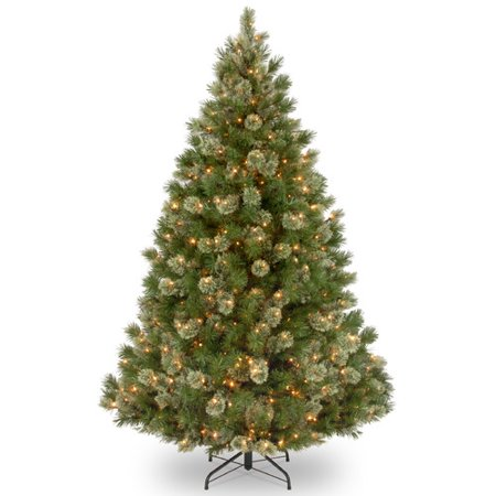National Tree Pre-Lit 7-1/2' Wispy Willow Grande Medium Hinged Artificial Christmas Tree with 750 Clear Lights