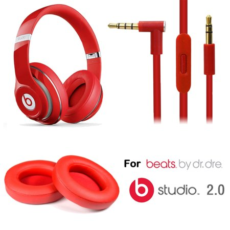 Eeekit Replacement Earpads Cushions And Audio Cable Cord W  Mic For Beats Studio 2 0 Wired   Studio Wireless Headphones Red