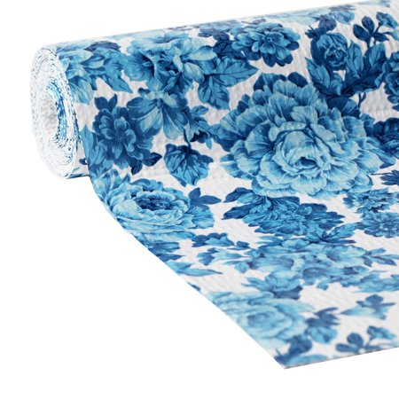 Pioneer Woman Non-adhesive 20 In. x 6 Ft. Shelf Liner, Heritage Floral (2pk) (Blue And White Contact Paper)