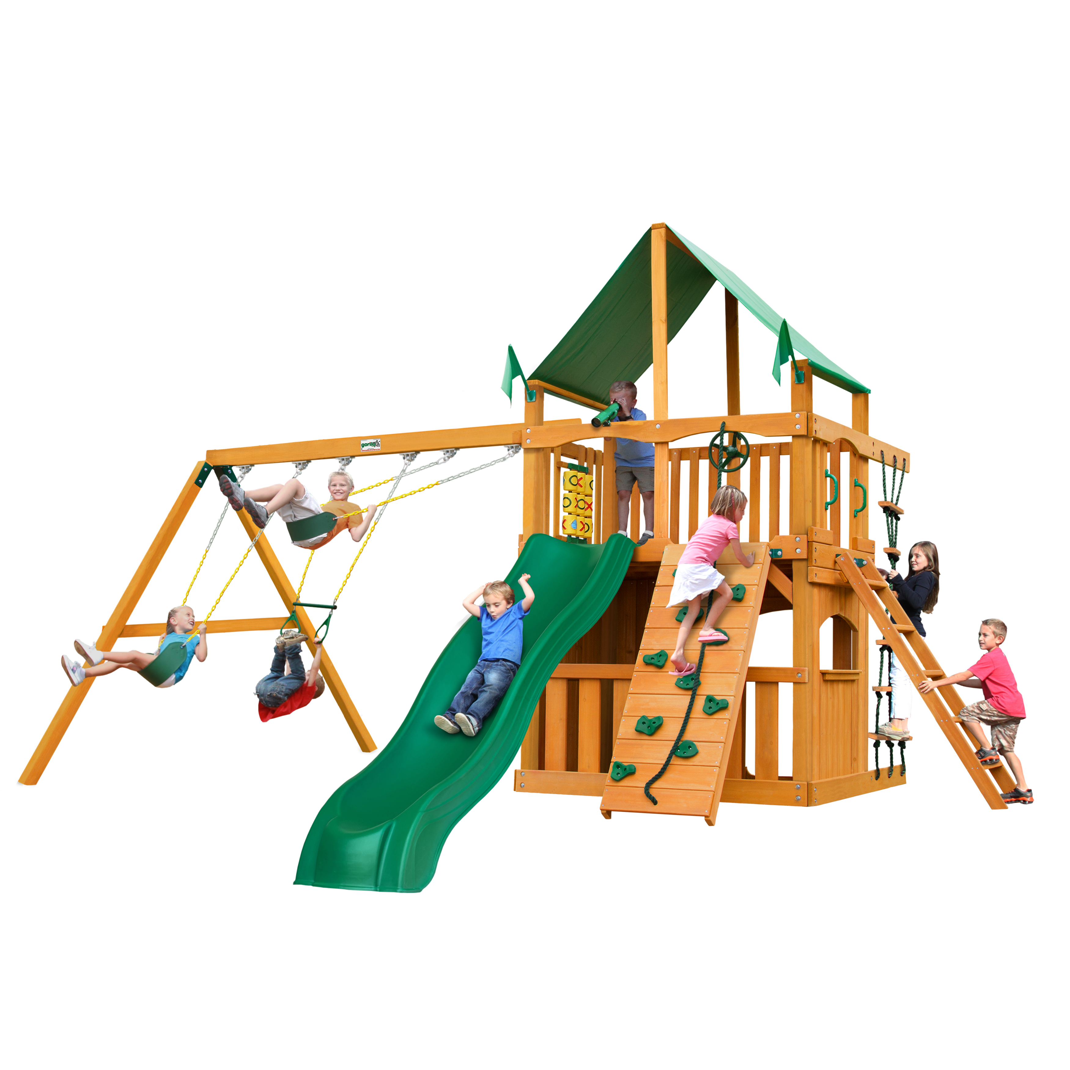 Gorilla Playsets Chateau Clubhouse Wooden Swing Set With Green Vinyl