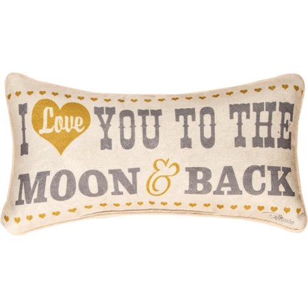 """Gray and Yellow """"I Love You To The Moon and Back"""" Themed Decorative Throw Pillow 17"""""""