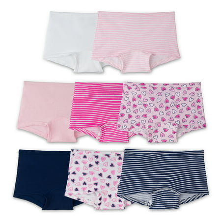 Fruit of the Loom Girls' 100% Cotton Boy Short Panties, 8 Pack