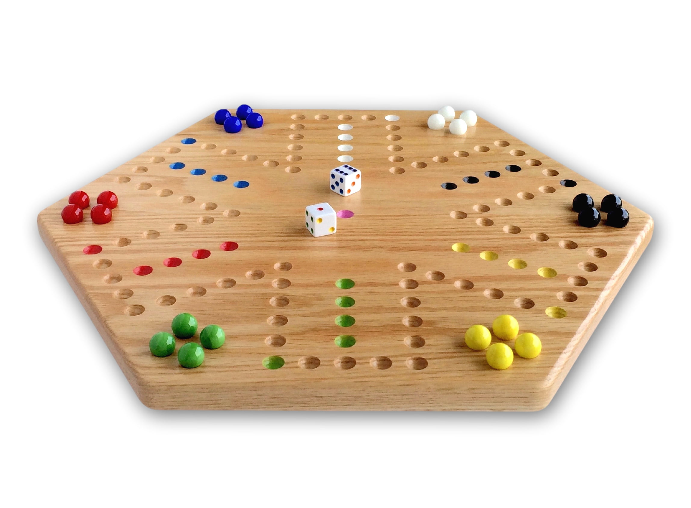 "AmishToyBox.com Oak Hand-Painted 16"" Wooden Aggravation Game Board, Double-Sided by Wengerd Wood"