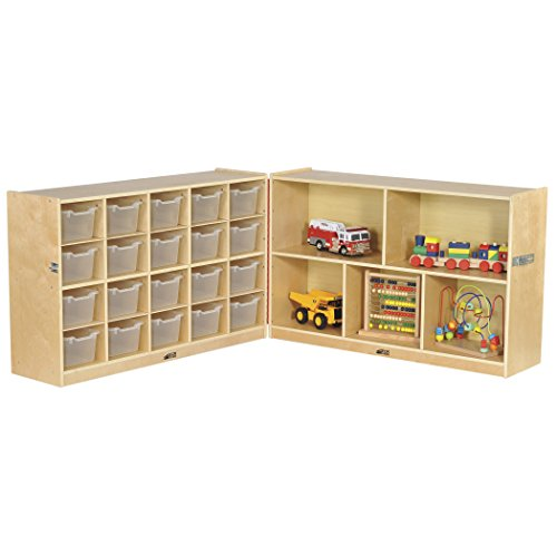 ECR4Kids Birch Fold & Lock Storage Cabinet with Trays and Cubbies