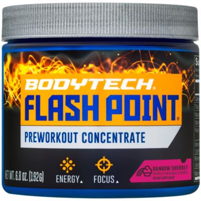 BodyTech Flash Point Pre Workout Concentrate for Energy, Focus  Stamina, Rainbow Sherbert (201 Grams Powder)