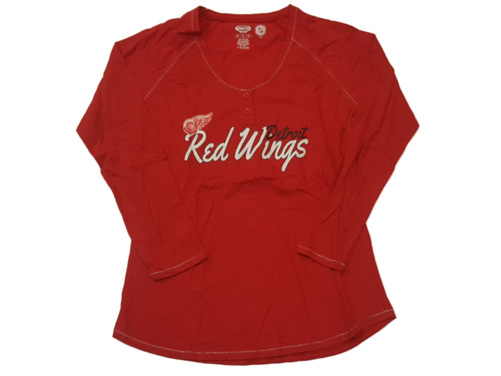 Detroit Red Wings Concepts Sport WOMEN'S Red 2 Button Long Sleeve T-Shirt (M) by