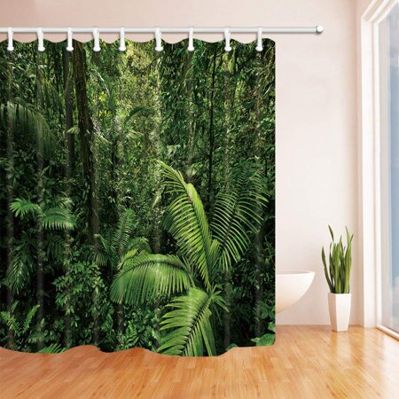 RYLABLUE Tropical Rainforest Decor Palm Tree Polyester Fabric Bathroom Shower Curtain 66x72 inches - image 1 of 1