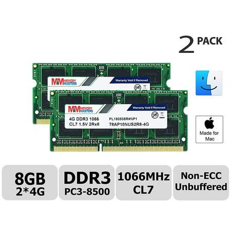 MemoryMasters Hynix IC Apple 8GB Kit (2x4GB) DDR3 PC3-8500 1066MHz memory upgrade for iMac 21.5 inch/27 inch/20 inch/24 inch, MacBook Pro 13 inch/15 inch/17 inch, Mac mini 2009 2010 (8GB Kit (2x4GB))