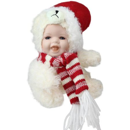 The Holiday Aisle Porcelain Baby in Polar Bear Costume with Santa Hat Collectible Christmas - Polar Bear Toddler Costume