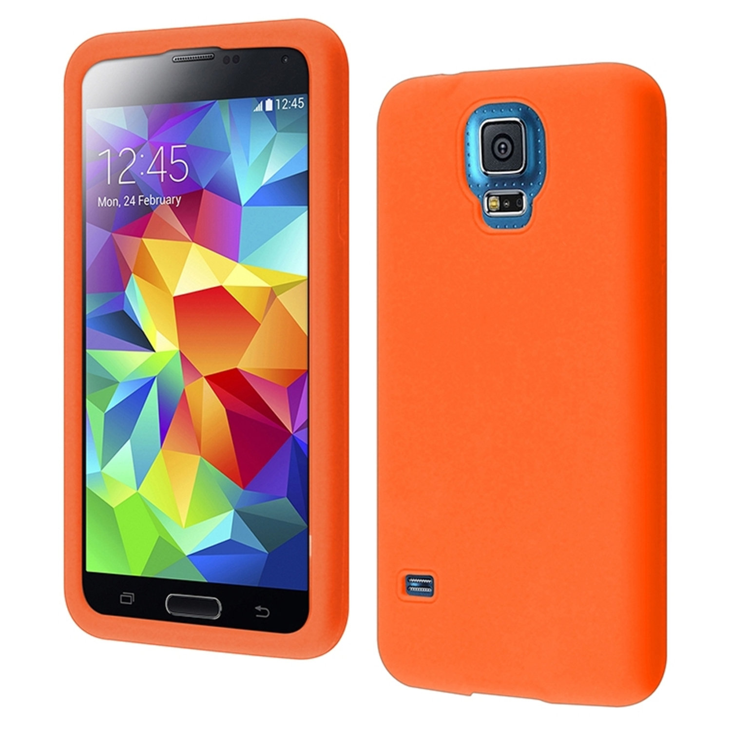 Insten For Samsung Galaxy S5 Silicone Soft Skin Case Cover Case Orange