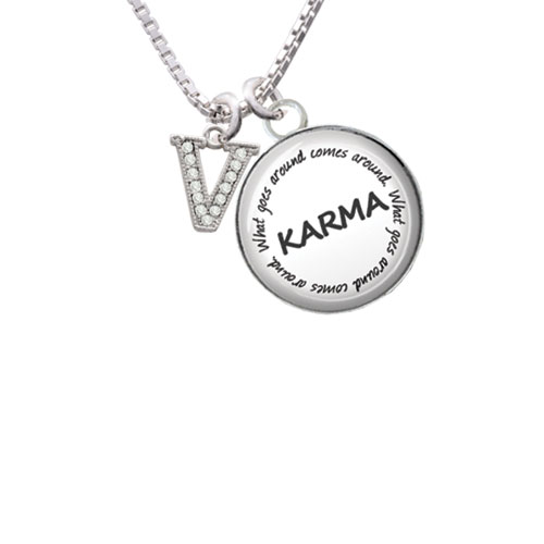 """Small Crystal Initial - V - Karma Glass Dome Necklace, 18""""+2"""""""