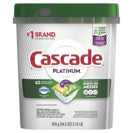 Cascade Platinum ActionPacs, Dishwasher Detergent, Lemon Scent, 62 count (Dishwasher Detergent Liquid Gel)