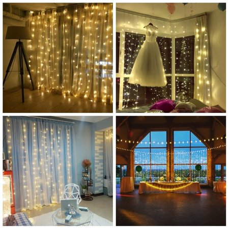 LED Curtain Lights 9.8 9.8ft with 300 pcs led, Remote Control, 8 flash Modes Waterproof String Light for Indoor and Outdoor Badroom, Saloon, Garden, Christmas, Wedding, Party - Warm - Led Lei